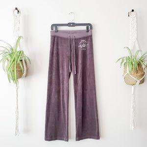 JUICY COUTURE Dark Gray Velour Track Pants